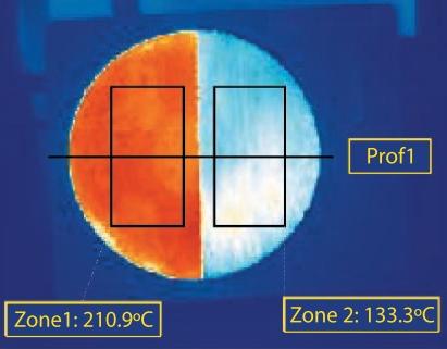Démonstration de la performance d'isolation thermique de Korund. Il y a une différence de plus de 80°C entre les zones traitée et non traitée